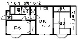 サニーハイツII[108号室号室]の間取り