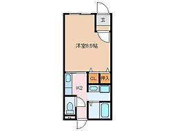 シャトーナツヤマ勢田 2階1Kの間取り