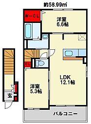 プレミアムガーデン II 2階2LDKの間取り