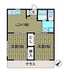 アルスK&TI[1階]の間取り