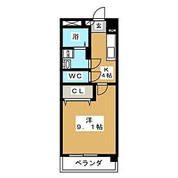 マンション亀山[6階]の間取り