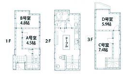 [一戸建] 東京都足立区東和2丁目 の賃貸【/】の間取り