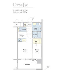 エンクレスト博多駅東II[5階]の間取り