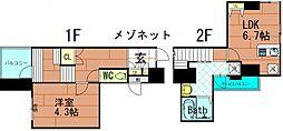 ブランドールM・西長堀 9階1LDKの間取り