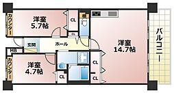 フレール六甲桜ヶ丘[6階]の間取り