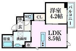 エヌズガーデン夙川 2階1LDKの間取り