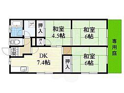 大阪モノレール本線 山田駅 徒歩9分の賃貸アパート 1階3DKの間取り