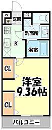 JR仙山線 東照宮駅 徒歩10分の賃貸マンション 3階1Kの間取り