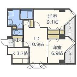 北海道札幌市中央区宮ケ丘1丁目の賃貸マンションの間取り