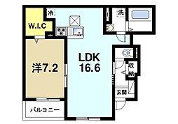 近鉄大阪線 大福駅 徒歩1分の賃貸アパート 1階1LDKの間取り