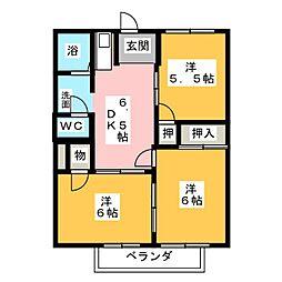 ポワソンボワールB[1階]の間取り