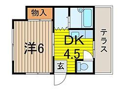 敬真荘[1階]の間取り
