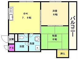 南花田マンション[4階]の間取り