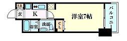 エステムコート新大阪Xザ・ゲート 3階1Kの間取り