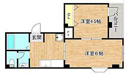 菊よしビル 3階2Kの間取り
