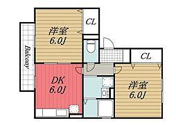 千葉県千葉市緑区おゆみ野中央8丁目の賃貸アパートの間取り
