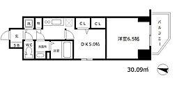 プレサンス江戸堀 6階1DKの間取り