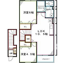 JR中央本線 国立駅 徒歩18分の賃貸アパート 2階2LDKの間取り