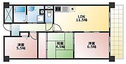 アンドユーイワキ東大阪[602号室]の間取り
