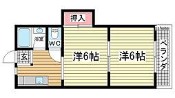 兵庫県神戸市灘区赤坂通3丁目の賃貸マンションの間取り