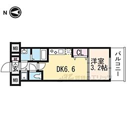 京都市営烏丸線 九条駅 徒歩6分の賃貸マンション 5階1DKの間取り