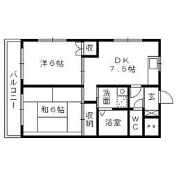 上島やよいマンション[3階]の間取り