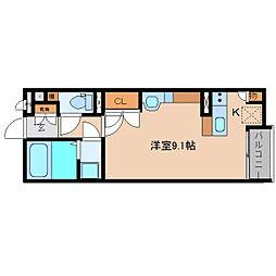 近鉄大阪線 五位堂駅 徒歩4分の賃貸アパート 1階ワンルームの間取り