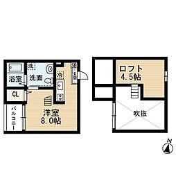 愛知県名古屋市熱田区四番1丁目の賃貸アパートの間取り