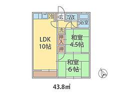 千葉県八千代市ゆりのき台の賃貸アパートの間取り