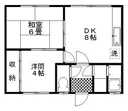 藤マンション(北園) 2階2LDKの間取り