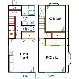 JR中央本線 国立駅 徒歩8分の賃貸テラスハウス 2LDKの間取り