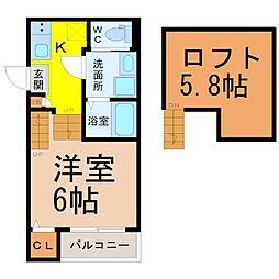 (仮称)中村区高須賀町(3)新築アパート 2階1Kの間取り