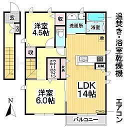 愛知県名古屋市瑞穂区丸根町2丁目の賃貸アパートの間取り