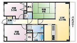 兵庫県神戸市東灘区田中町5丁目の賃貸マンションの間取り