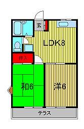 アーバンハイツOKA[2階]の間取り