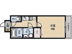 レジュールアッシュ京橋 9階1Kの間取り