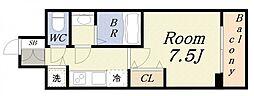 ジアコスモ大阪ベイシティ 7階1Kの間取り