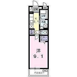 JR山陽本線 福山駅 バス10分 水道局前下車 徒歩3分の賃貸マンション 2階1Kの間取り