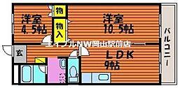 岡山県岡山市中区清水1丁目の賃貸マンションの間取り