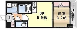 アクアプレイス京都二条城北 4階1DKの間取り