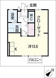 セジュール山本[2階]の間取り