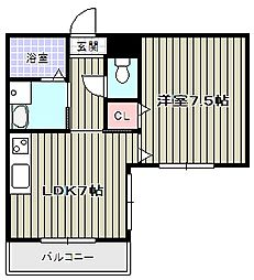 クィーンライフ桑津/[6階]の間取り
