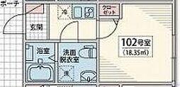 Vesta Minami Koiwa 1階1Kの間取り