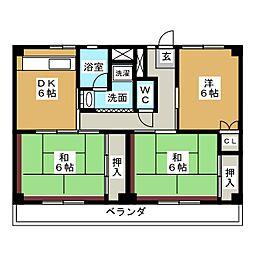 ビレッジハウス四郎丸2号棟[1階]の間取り