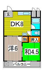 不二木村コーポ[4階]の間取り