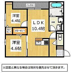 福岡県北九州市小倉北区片野新町3丁目の賃貸アパートの間取り