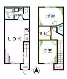 西武新宿線 上石神井駅 徒歩15分の賃貸テラスハウス 2LDKの間取り