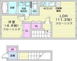 JR東北本線 岩切駅 徒歩12分の賃貸アパート 2階1LDKの間取り