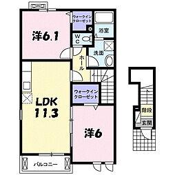 兵庫県西宮市山口町名来1丁目の賃貸アパートの間取り