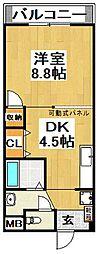大阪府堺市中区東八田の賃貸マンションの間取り